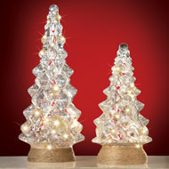 Country Lighted Glass Christmas Trees
