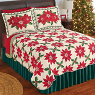 Poinsettia and Holly Christmas Quilt - 40972