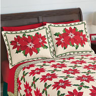 Poinsettia and Holly Christmas Pillow Sham - 40973