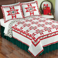 Holly Stars Patchwork Christmas Quilt
