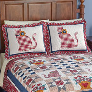 Country Cat Primitive Patchwork Pillow Sham - 40994