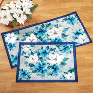 Icy Blue Poinsettia Christmas Rug Set - 41317