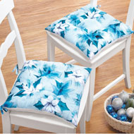 Icy Blue Poinsettia Chair Cushions - 41342