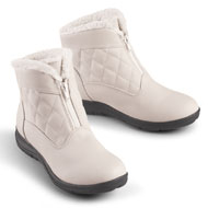 Quilted Zip-Front Fleece Lined Boots - 41350