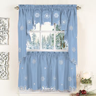 Metallic Snowflake Christmas Curtains - 41356