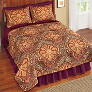 Malta Spice Reversible Damask & Paisley Quilt - 41429