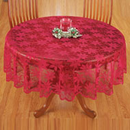 Poinsettia Red Lace Christmas Tablecloth - 41442