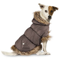 Faux Fur Trim Dog Puffer Jacket - 41525