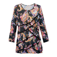Paisley Ruffle Front 3/4 Sleeve Top - 41555