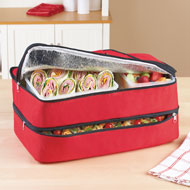 Insulated 2-section Carrying Food Tote with Handle - 41628