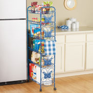 Metal Butterfly 6 Shelf Rolling Pantry Cart