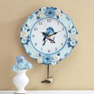 Blue Bird Garden Pendulum Wall Clock - 41726