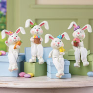 Easter Bunny Figurine Sitters - Set of 4 - 41747
