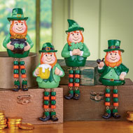 St. Patrick's Leprechaun Figurine Sitters - Set of 4 - 41769