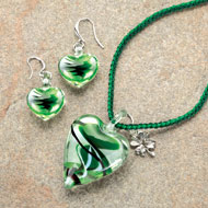 Glass Heart Pendant Necklace and Earrings Set - 41770