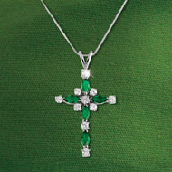 Emerald Crystal Cross Pendant Necklace - 41771