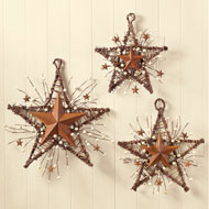 Rustic Country Primitive Berry Star Wall Decor Set - 41788