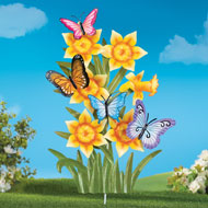 Daffodil & Butterflies Outdoor Yard Stake