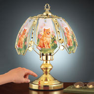 Cat Floral Garden Glass Shade Touch Lamp - 41930