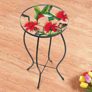 Hummingbird & Flowers Glass Accent Table - 41939