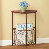 Half Round Side Table with Magazine Holder - 41945