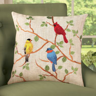 Birds on Branches Embroidered Accent Pillow Cover - 41979