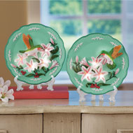 Decorative Hummingbird Lighted Plate with Stand