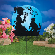 Funtime Girl and Cat Solar Shadow Stake