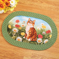 Cat in Daises Oval Braided Accent Rug - 42157