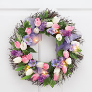 Tulips & Flowers Lighted Twig Wreath - 42199