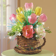 Fiber Optic Floral Arrangement in Rattan Teacup - 42206