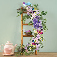 Floral Garland on Ladder with Bird Nest - 42210