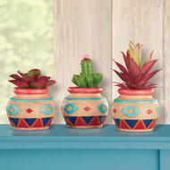 Faux Succulents in Southwest Pots Set - 42223