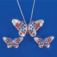 Patriotic Butterfly Necklace & Earrings Set - 42244