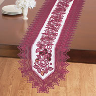 Elegant Floral Rose And Lace Table Linens
