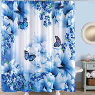 Blue Butterfly Garden Shower Curtain - 42335