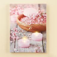 Pink Floral LED Lighted Candle Canvas