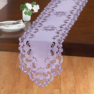 Lavender Floral Cutwork Table Linens - 42349
