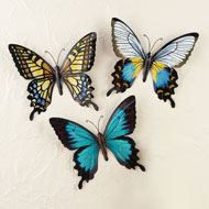 Metal Butterfly Wall Art, Set of 3 - 42373
