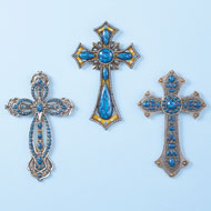 Western Turquoise Wall Cross Set - 42386