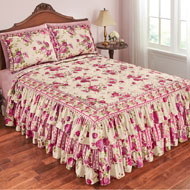 Rose Floral Quilted Ruffle Bedspread - 42458