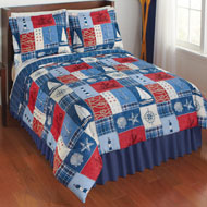 Reversible Nautical Patchwork Comforter Set - 42466