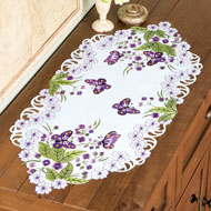 Floral and Butterfly Embroidered Dresser Scarf - 42475