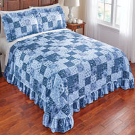Country Wildflower Patch Plisse Bedspread - 42493
