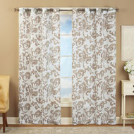 Sheer Scroll Linen Grommet Top Curtain Panel - 42549
