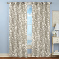Floral Linen Grommet Top Curtain Panel - 42551