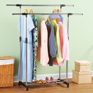 Rolling Double Garment Clothing Rack - 42569