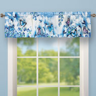 Blue Butterfly Floral Garden Window Valance