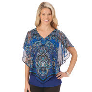 Printed Chiffon Overlay Top with Tank