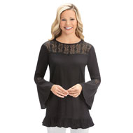 Gauze Lace Trim Bell Sleeve Tunic Top - 42603